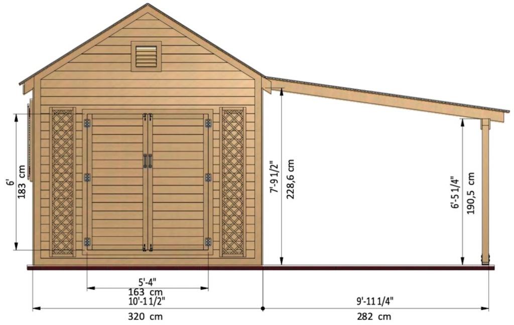 Exemple de plan de construction d'une remise de jardin avec dimensions.