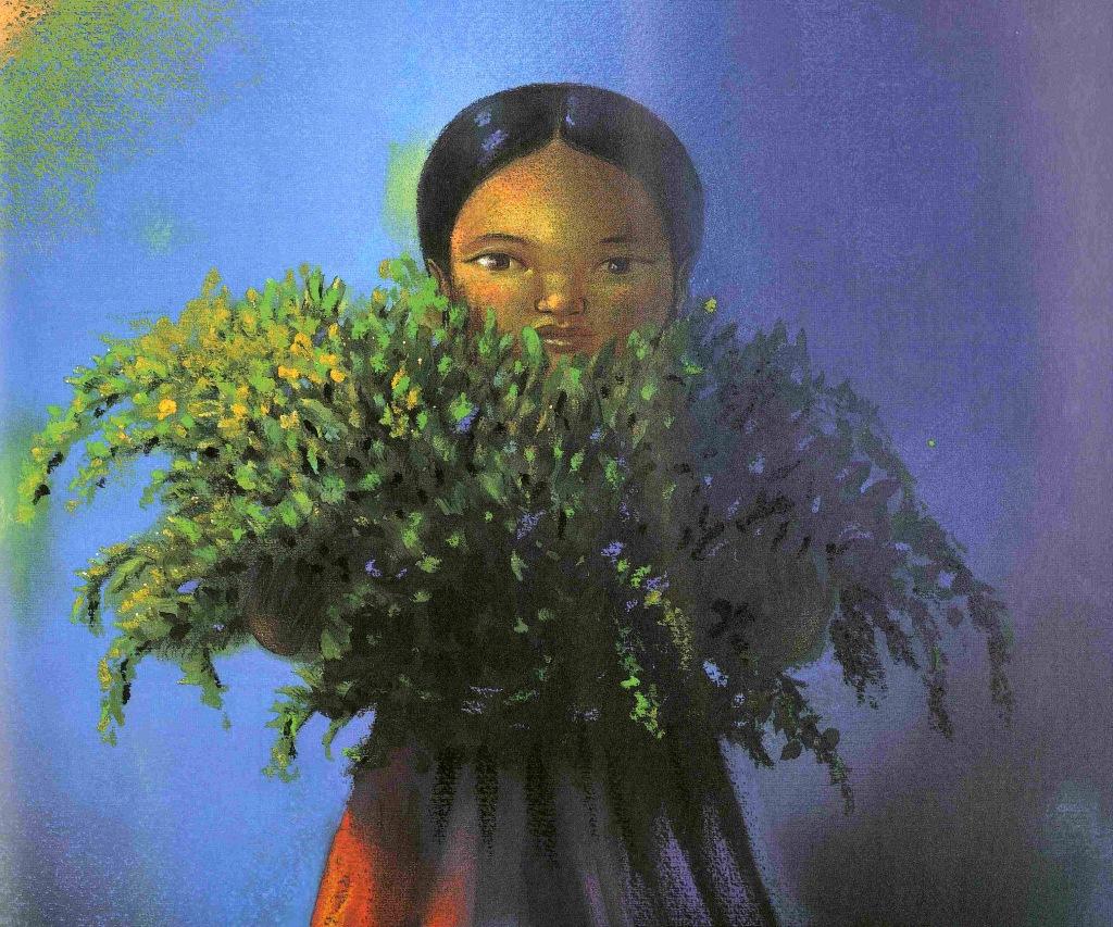 Pepita les bras pleins de branches sans fleurs
