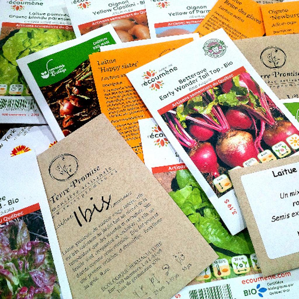 Un vaste choix de paquets de semences différents.